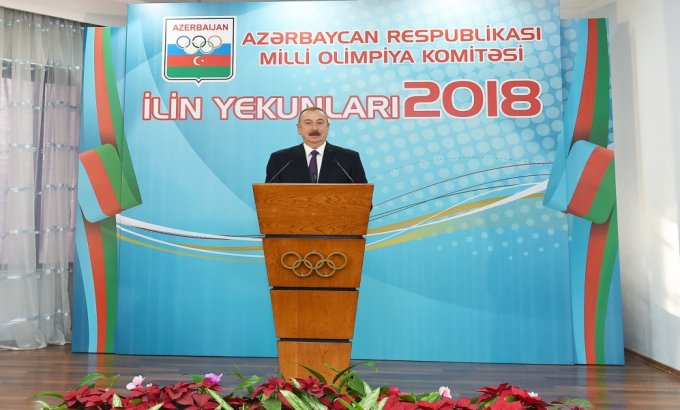 Prezident İlham Əliyev 2018-ci ilin idman yekunlarına həsr olunan mərasimdə iştirak edib