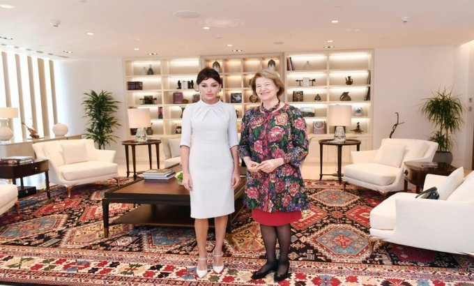 Birinci vitse-prezident Mehriban Əliyeva Baronessa Emma Nikolsonla görüşüb (FOTOLAR)