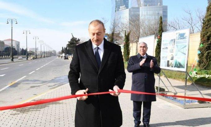 İlham Əliyev Bakıda yeraltı piyada keçidinin açılışında - FOTO