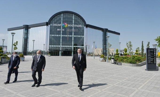 """Prezident Ağcabədidə """"ASAN xidmət"""" mərkəzinin açılışını etdi"""